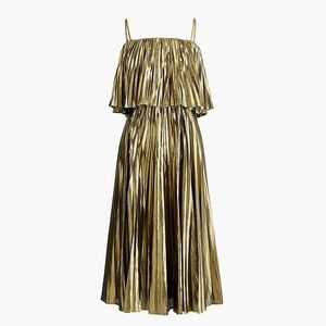 🆕 J Crew Gold Lamé Pleated Midi Dress